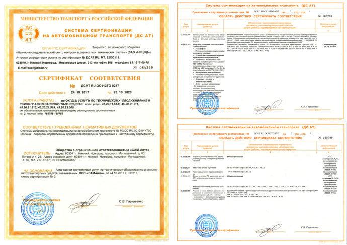 Сертификат ДС АТ на установку оборудования ДОПОГ